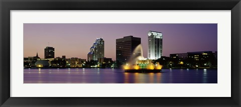 Framed Fountain in a lake lit up at night, Lake Eola, Summerlin Park, Orlando, Florida Print