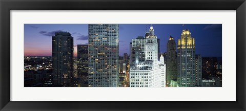 Framed Skyscraper lit up at night in a city, Chicago, Illinois, USA Print