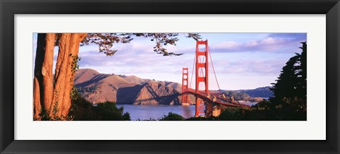 Framed Golden Gate Bridge with Mountains Print