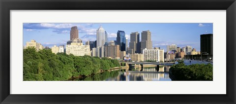 Framed Daytime View of Philadelphia with Clouds Print