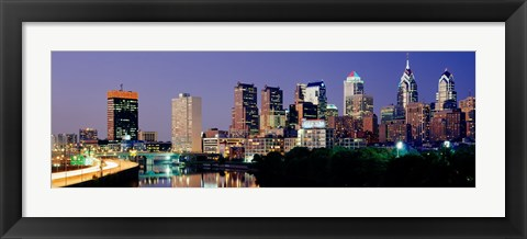 Framed City Lights of Philadelphia Print