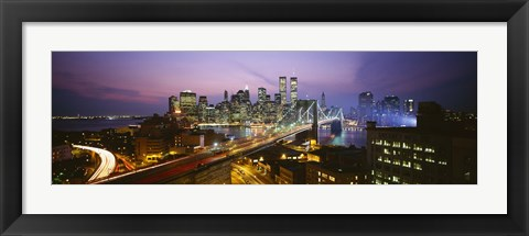Framed Buildings lit up at night, World Trade Center, Manhattan, New York City, New York State, USA Print