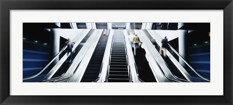 Framed Group of people on escalators at an airport, O'Hare Airport, Chicago, Illinois, USA Print