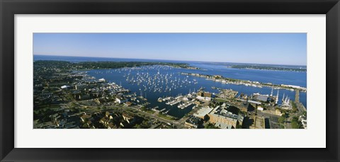 Framed Aerial view of a harbor, Newport Harbor, Newport, Rhode Island, USA Print