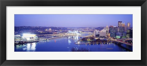 Framed Pittsburgh skyscrapers and Heinz Stadium at night Print