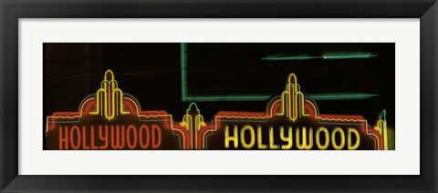 Framed Hollywood Neon Sign Los Angeles CA Print