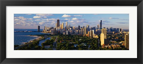 Framed View of Chicago city and the lake, IL Print