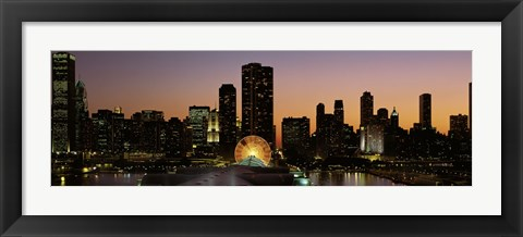 Framed Chicago skyline Lit Up at Night Print