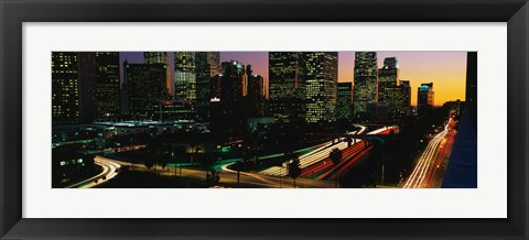 Framed Harbor Freeway and buildings lit up, Los Angeles CA Print