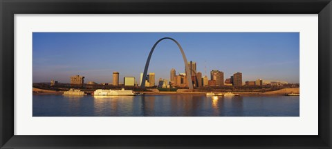 Framed St. Louis Skyline with arch Print