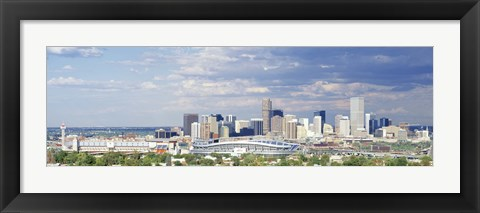 Framed USA, Colorado, Denver, Invesco Stadium, High angle view of the city Print
