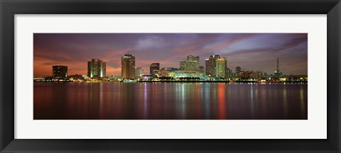 Framed Buildings lit up at the waterfront, New Orleans, Louisiana, USA Print