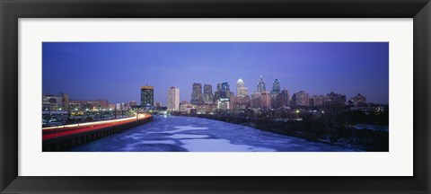 Framed Buildings lit up at night, Philadelphia, Pennsylvania, USA Print