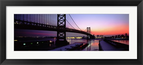 Framed Suspension bridge across a river, Ben Franklin Bridge, Philadelphia, Pennsylvania, USA Print