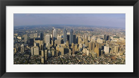 Framed Aerial view of skyscrapers in a city, Philadelphia, Pennsylvania, USA Print