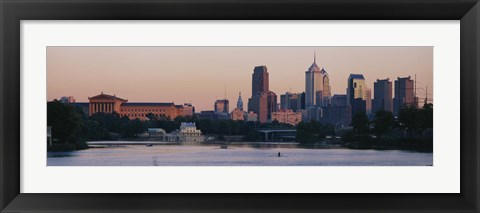 Framed Buildings on the waterfront, Philadelphia, Pennsylvania, USA Print