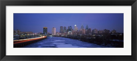 Framed Philadelphia Skyline at Night Print