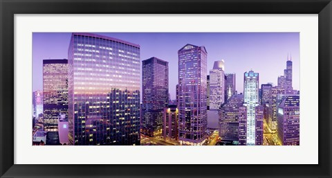 Framed Skyscrapers at night, Chicago IL Print