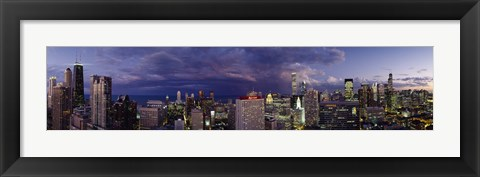 Framed Evening Chicago skyline, IL Print