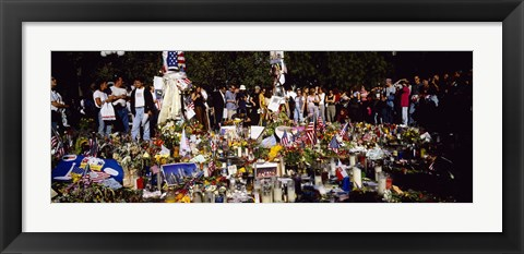 Framed Group of people standing in front of offerings at a memorial, New York City, New York State, USA Print