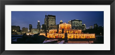 Framed Buckingham Fountain Decorated For Christmas, Chicago, Illinois, USA Print