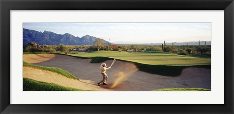 Framed Side profile of a man playing golf at a golf course, Tucson, Arizona, USA Print