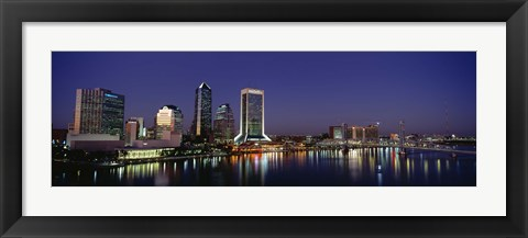 Framed Buildings Lit Up At Night, Jacksonville, Florida, USA Print