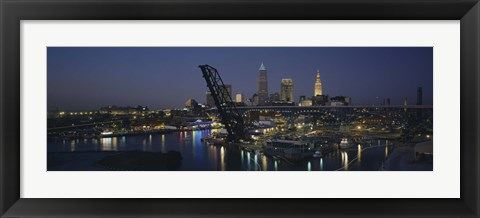 Framed Skyscrapers lit up at night in a city, Cleveland, Ohio, USA Print
