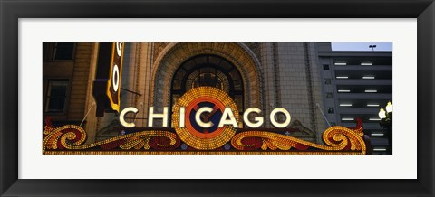 Framed Close-up of the entrance of a stage theater, Chicago Theater, Chicago, Illinois, USA Print