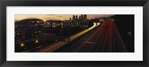 Framed Aerial view at dusk, Seattle, Washington State, USA Print