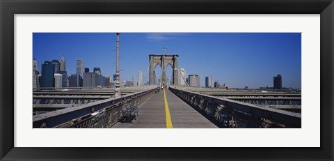 Framed Bench on a bridge, Brooklyn Bridge, Manhattan, New York City, New York State, USA Print
