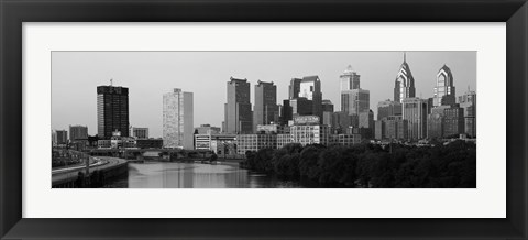 Framed River passing through a city in black and white, Philadelphia, Pennsylvania Print