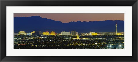 Framed Aerial View Of Buildings Lit Up At Dusk, Las Vegas, Nevada, USA Print