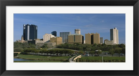 Framed Buildings in a city, Fort Worth, Texas Print