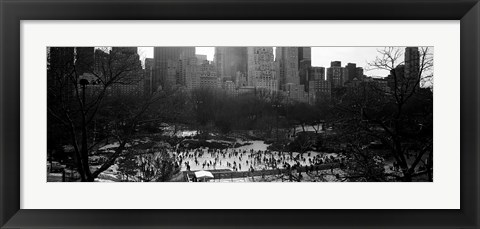 Framed Wollman Rink Ice Skating, Central Park, NYC, New York City, New York State, USA Print