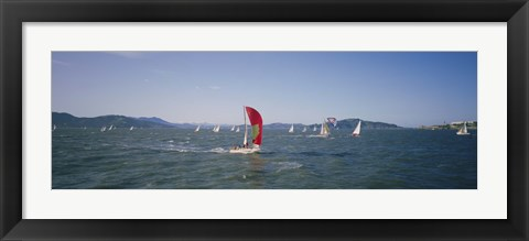 Framed Sailboats in the water, San Francisco Bay, California, USA Print