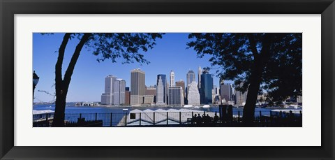 Framed Skyscrapers on the waterfront in Manhattan, New York City Print