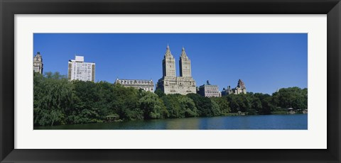 Framed Buildings on the bank of a lake, Manhattan, New York City, New York State, USA Print