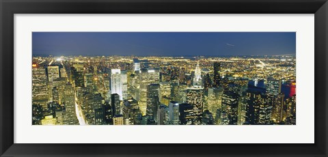 Framed Buildings Lit Up At Dusk, Manhattan, NYC, New York City Print