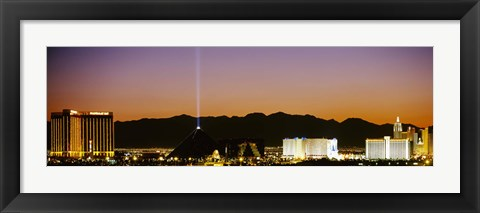 Framed Mandalay Bay and Luxor at night, Las Vegas, Nevada Print