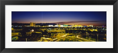 Framed High angle view of buildings lit up at dusk, Las Vegas, Nevada, USA Print