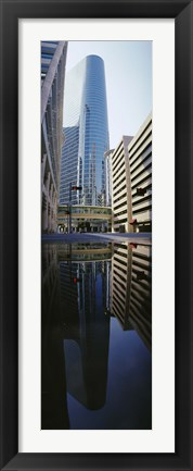 Framed Reflection of buildings on water, Houston, Texas, USA Print
