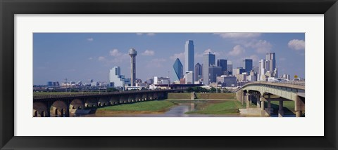 Framed Office Buildings In A City, Dallas, Texas, USA Print