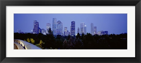 Framed Buildings lit up at dusk, Houston, Texas Print