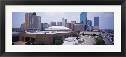 Framed High Angle View Of Office Buildings In A City, Dallas, Texas, USA Print