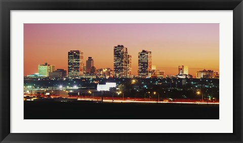 Framed Fort Worth at dusk, Texas Print