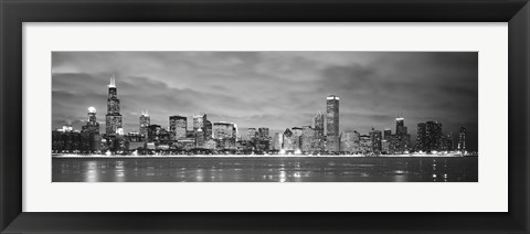 Framed Black and White view of Buildings at the waterfront, Chicago, Illinois Print