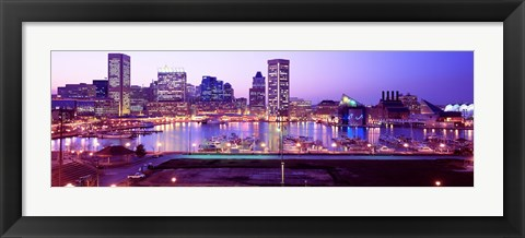 Framed Inner Harbor, Baltimore, Maryland at Night Print