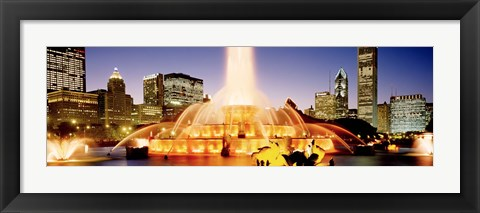 Framed Fountain lit up at dusk, Buckingham Fountain, Chicago, Illinois, USA Print