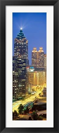 Framed Skyscrapers lit up at night, Atlanta, Georgia, USA Print